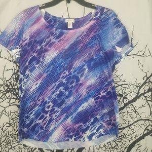 Chico's | Blue & Purple Snake Skin Print Top